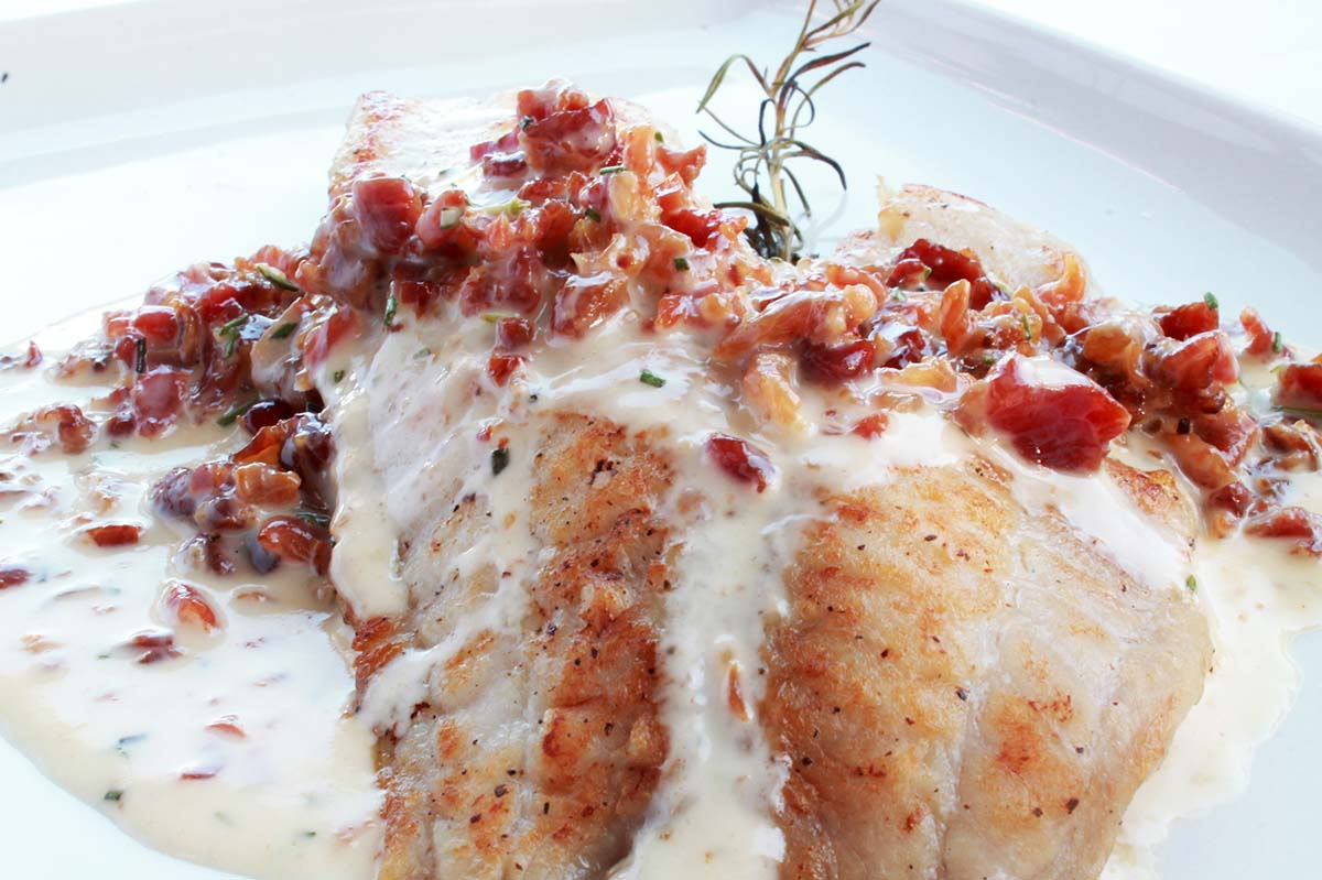 Pan-Seared Tilapia with a Bacon-Rosemary Cream Sauce