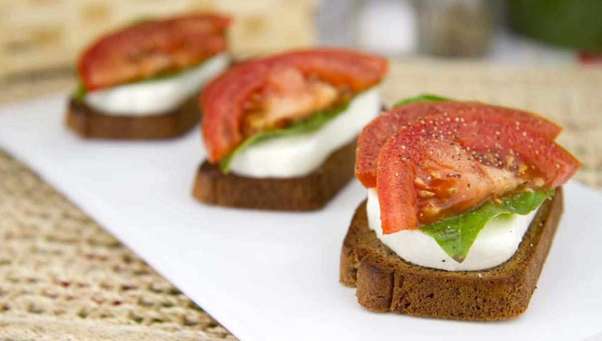 Fresh Mozzarella, Basil and Tomatoes on Warm Paleo Toast