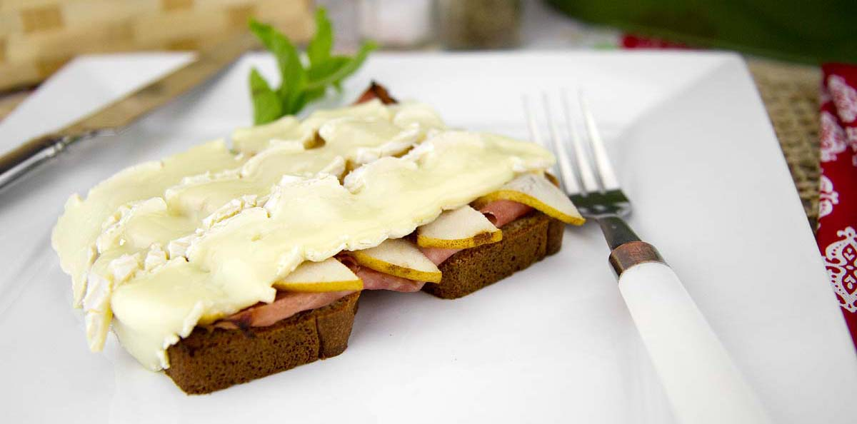 Ham and Pear with Brie Cheese on Warm Paleo Toast