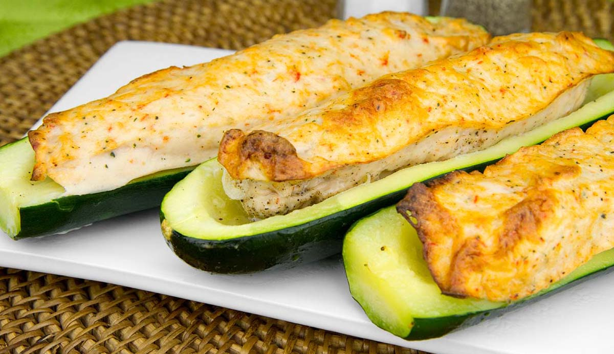 Baked Shrimp Mousse Loaded Zucchini Canoes