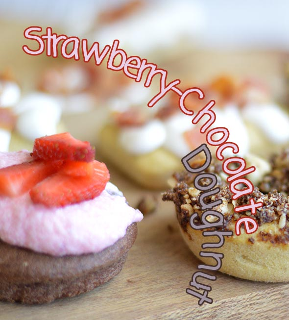 Chocolate Doughnuts with Strawberry Chantilly