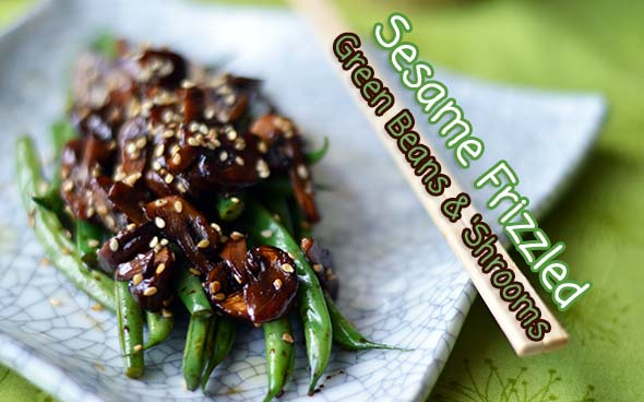 Stir-Fried Sesame Green Beans and Mushrooms