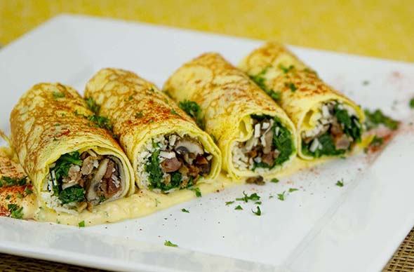 Spinach and Mushroom Stuffed Crepes