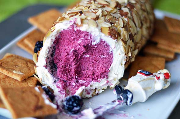 Blackberry and Mascarpone Butter Log with Sweet Parmesan-Almond Crackers