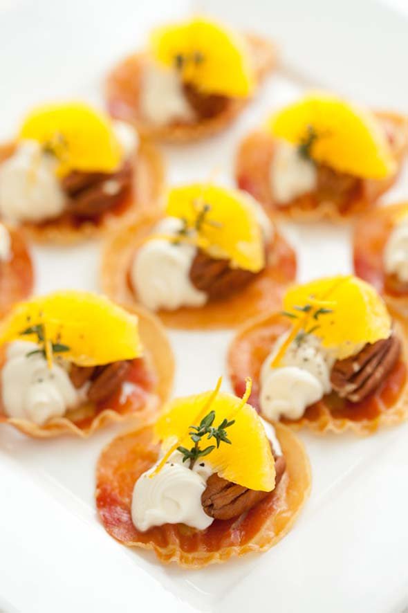 Pancetta Crisps with Goats Cheese, Oranges, Pecans and Thyme