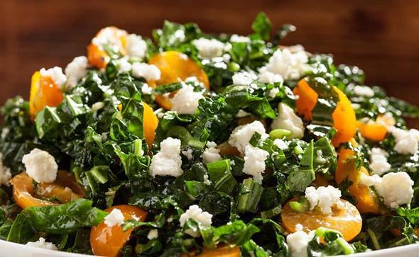 Shredded Kale, Tomatoes, Feta, and Mint Salad