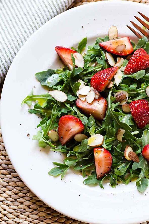 Easy Arugula Strawberry Salad with Meyer Lemon Vinaigrette