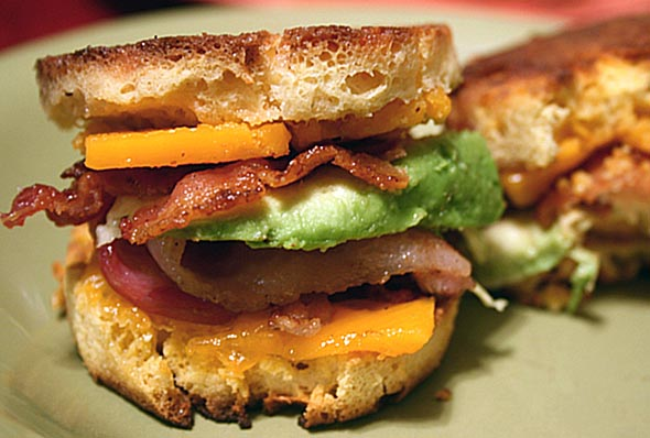Bacon Avocado Grilled Cheese Sliders on Coconut 2 Minute Bread