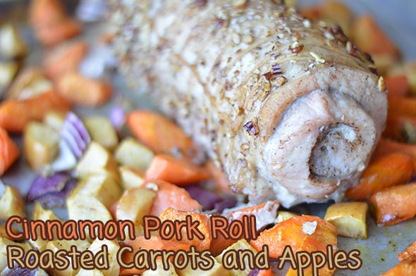 Cinnamon Pork Loin Roll with Carrots and Apples