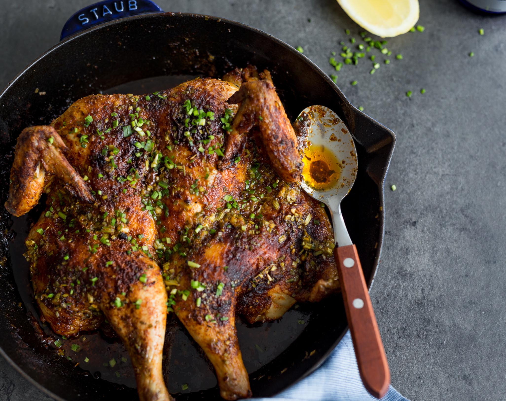 Cajun Roast Chicken with Lemon-Chive Butter