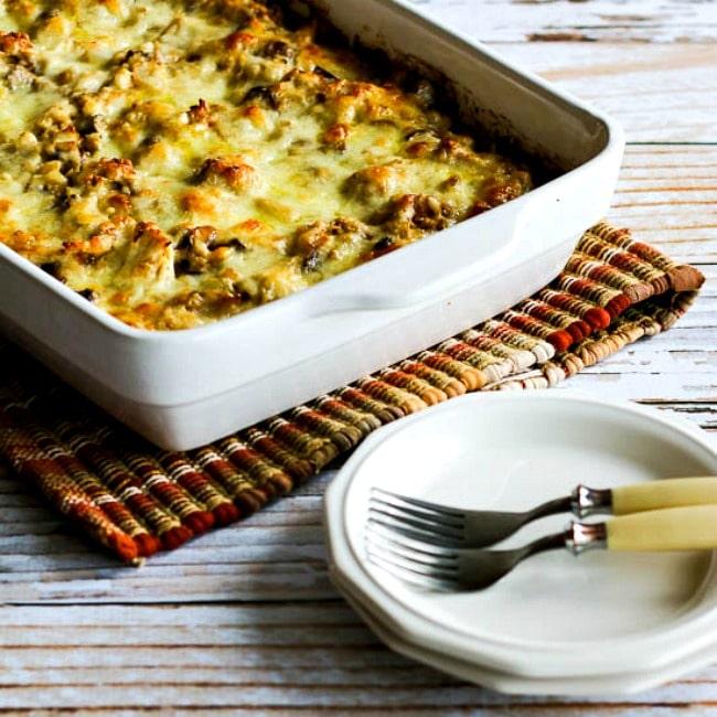 Low-Carb Turkey Casserole with Mushrooms, Mozzarella, and Cauliflower Rice