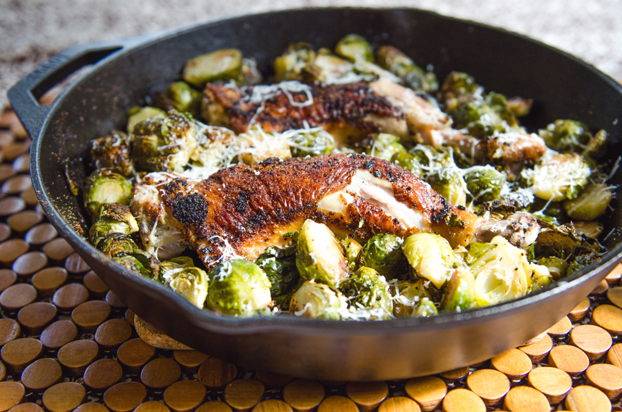 One-Pan Crispy Chicken Legs & Brussels Sprouts