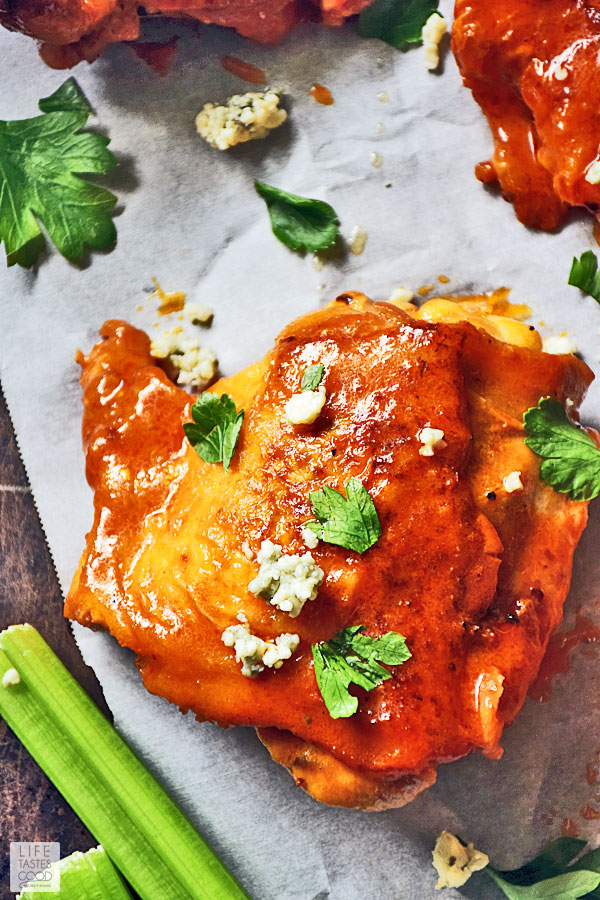 Baked Buffalo Chicken Thighs