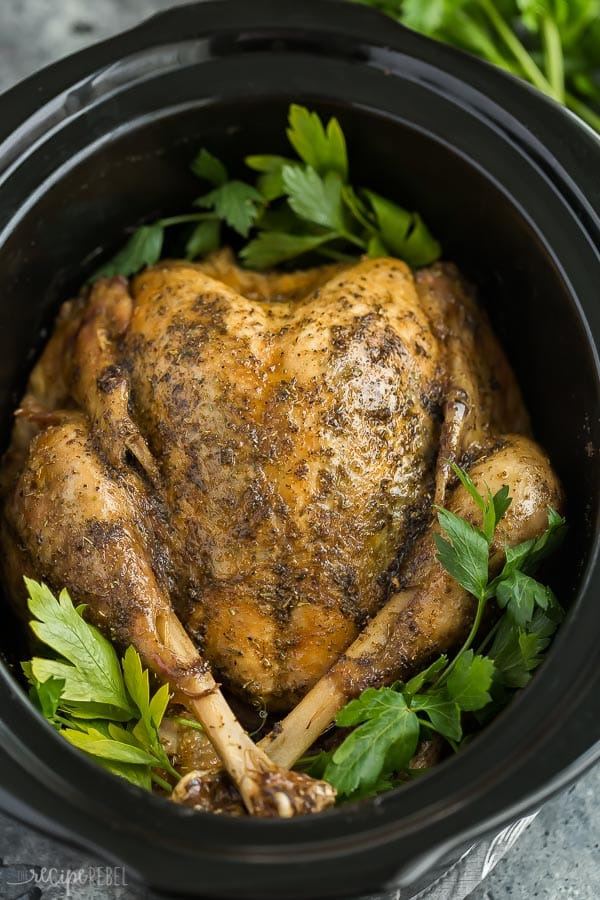 Crockpot Turkey with Garlic Butter