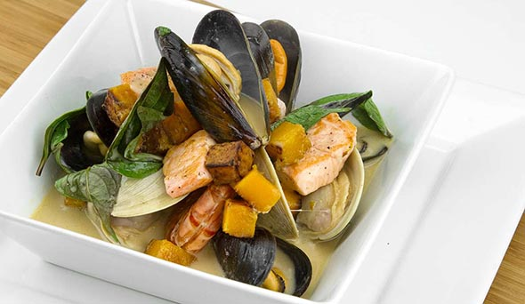 Seafood and Pumpkin Stew with Coconut and Basil