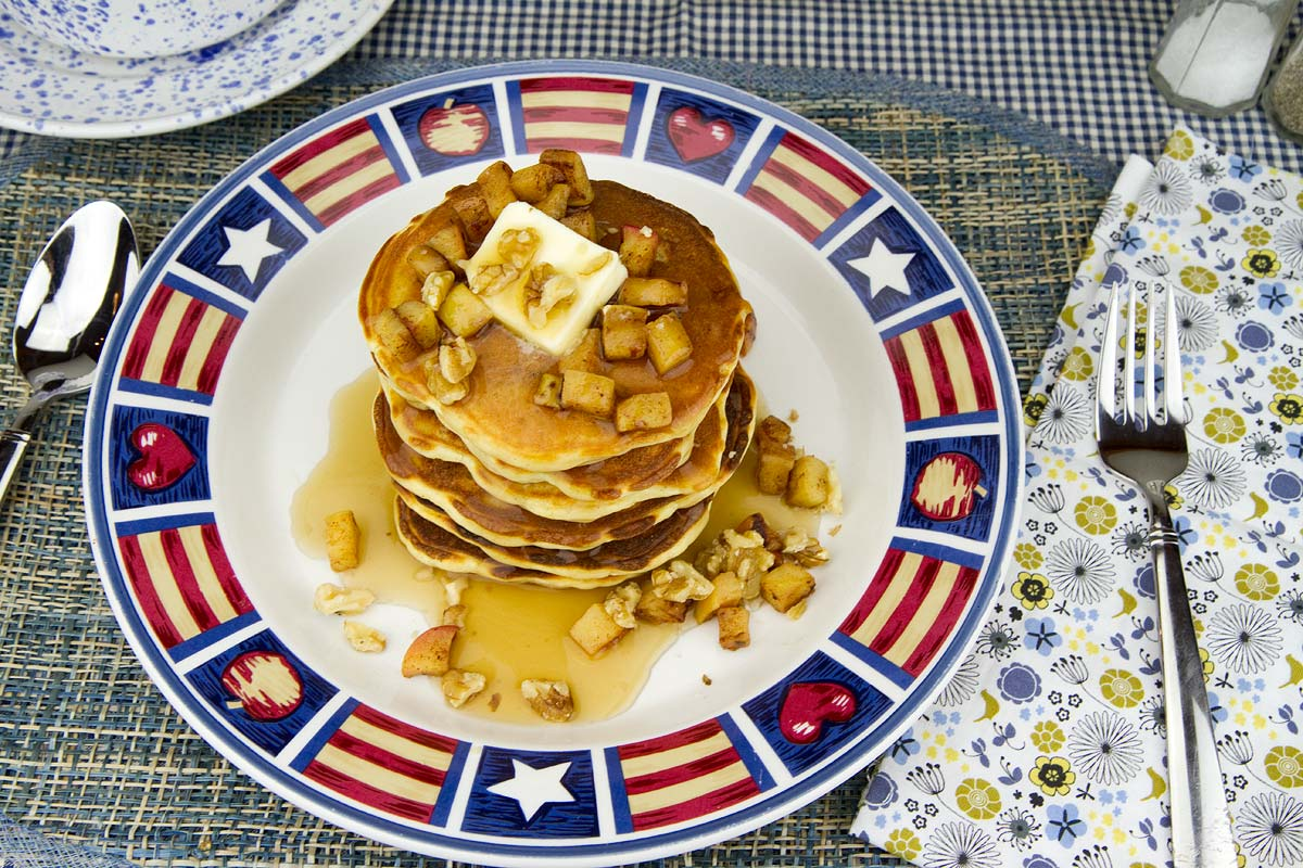 Caramelized and Spiced Apple Topped Pancakes