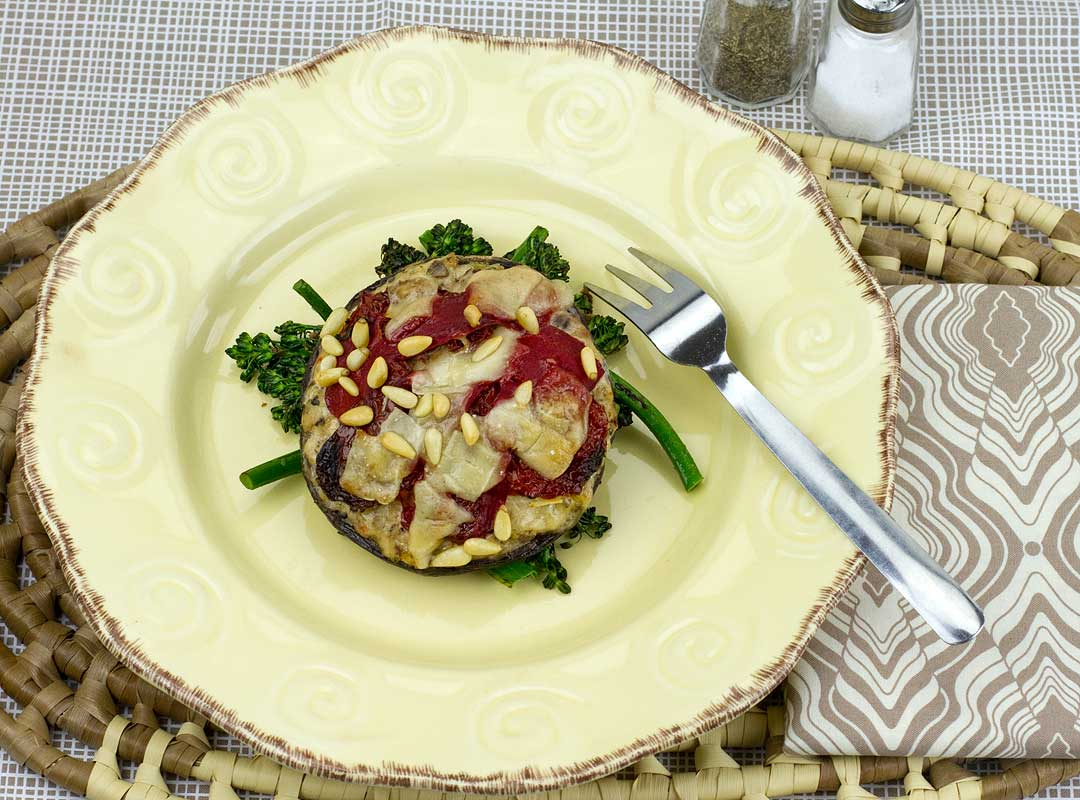 Italian Sausage Stuffed Portobello with Sun Dried Tomatoes
