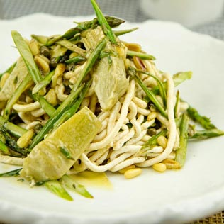 Chicken Noodles with Asparagus, Artichokes and Pine Nuts