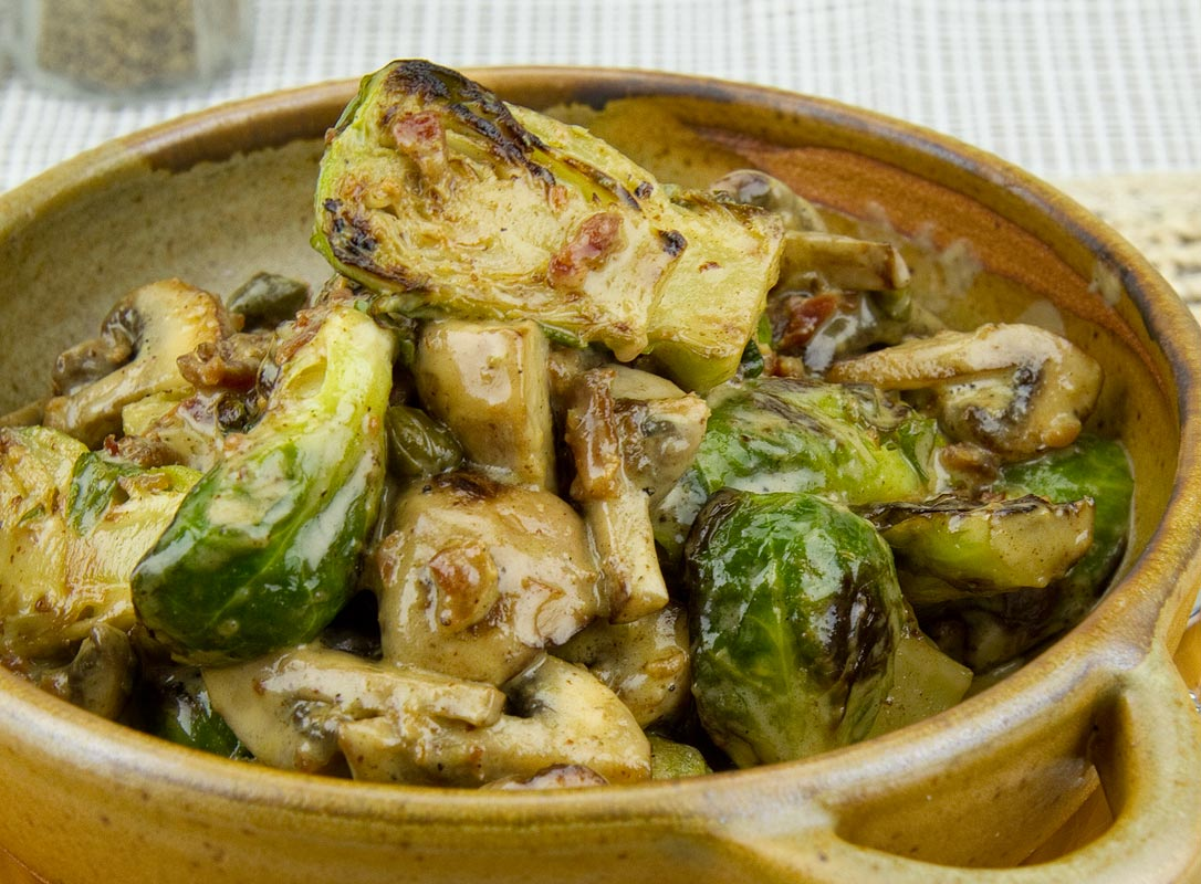 Creamed Brussel Sprouts with Mushrooms and Bacon