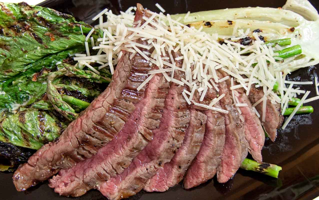 Grilled Steak Caesar with Asparagus