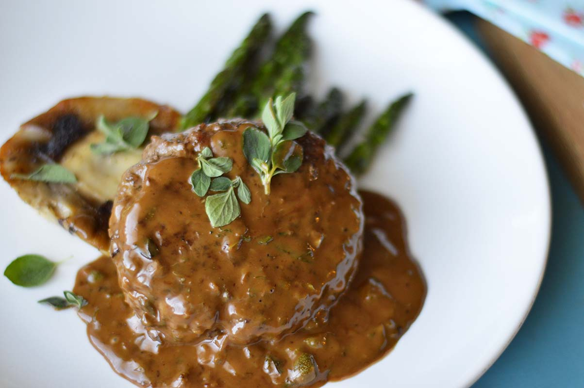 Ground Beef Steak with Portobello, Asparagus and a Caper-Balsamic Cream Sauce