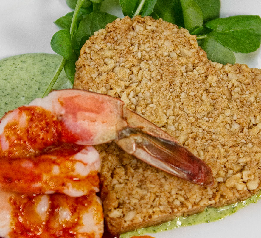 Smoked Paprika Shrimp with Macadamia Cracker and Watercress