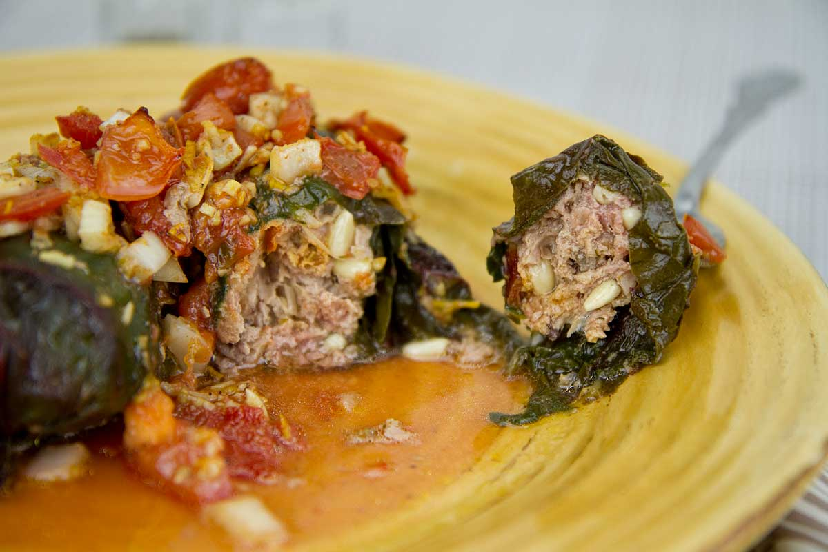 Lamb Stuffed Chard Leaves