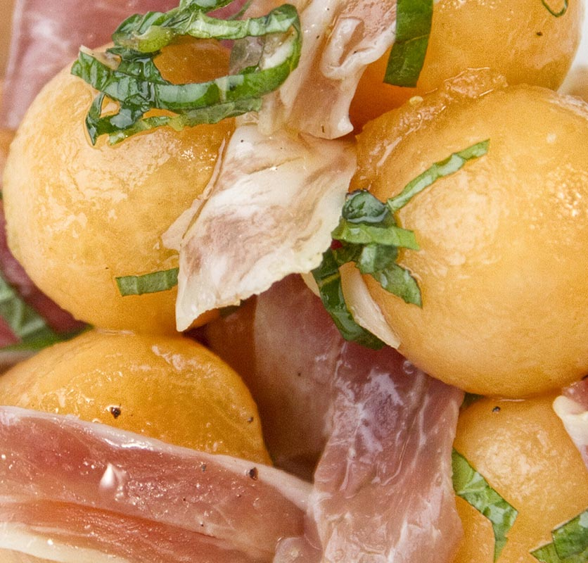 Melon Ball Salad with Mint and Prosciutto