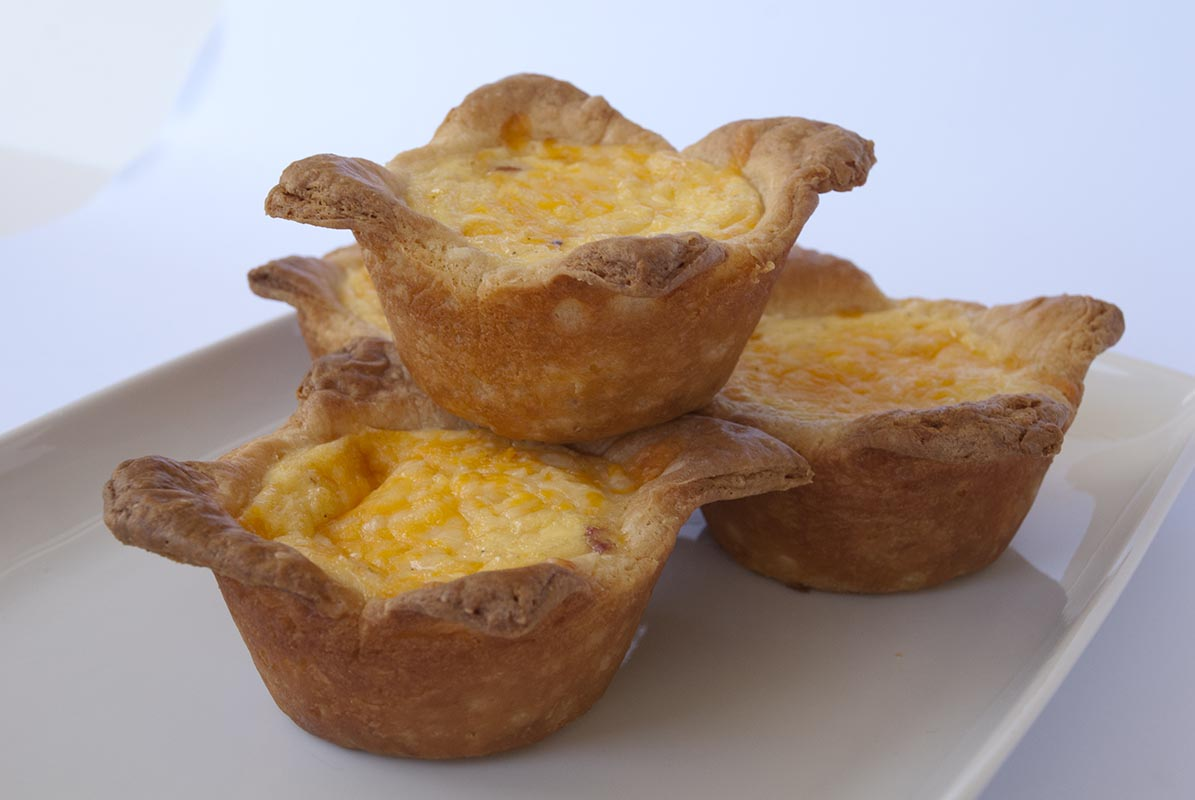 Rosemary Scented Ham and Cheddar Mini-Quiches
