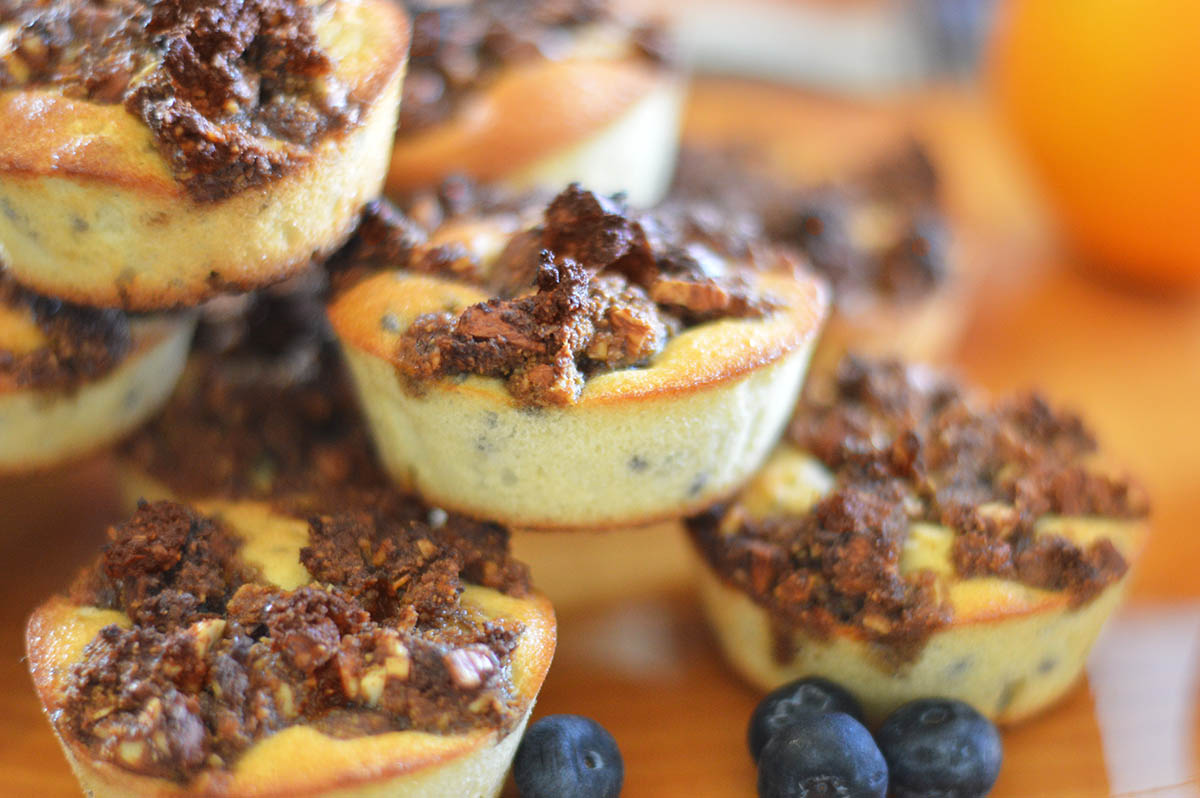 Orange-Blueberry Muffins with Pecan Streusel