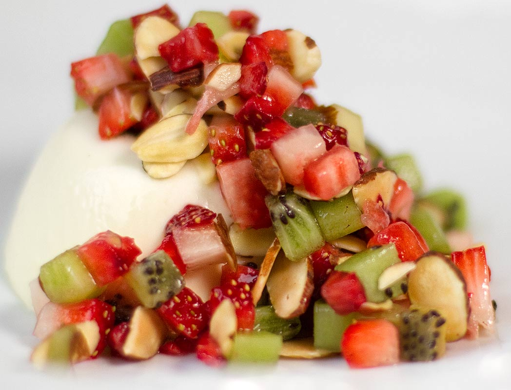Almond Panna Cotta with Strawberries and Kiwi