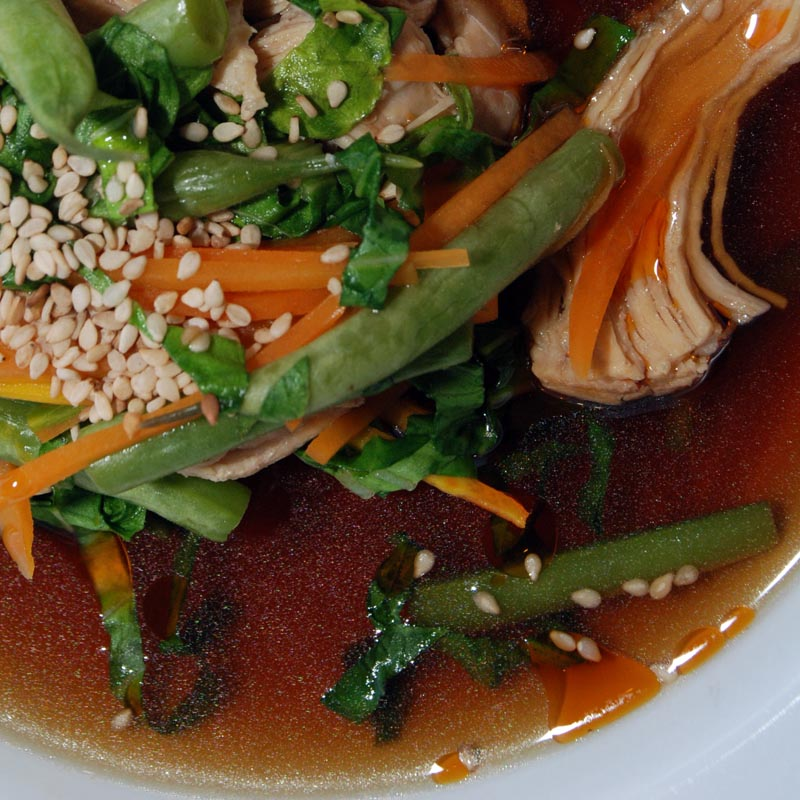 Sumo Style! Sesame-Ginger Chicken and Veggie Soup