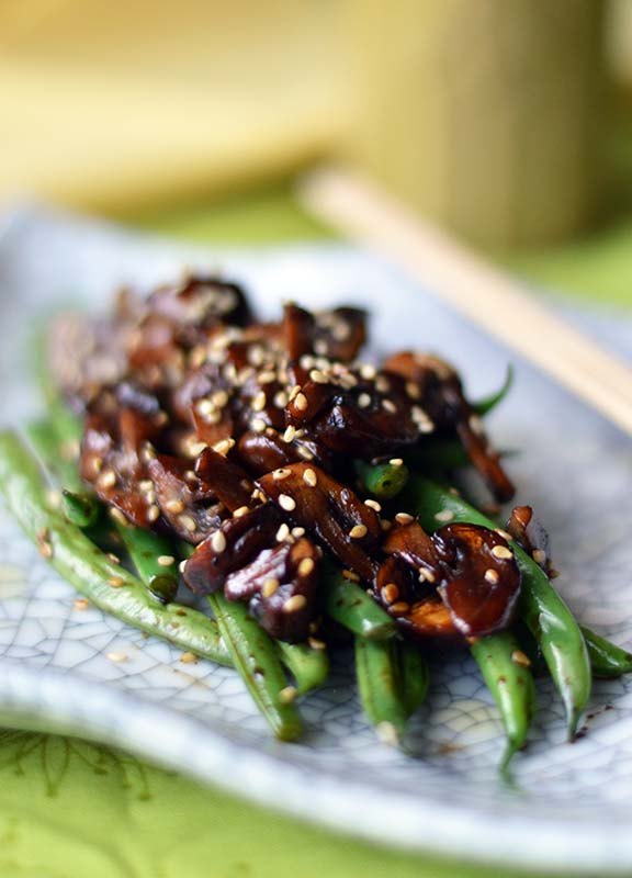 Sesame Fried Green Beans and Mushrooms