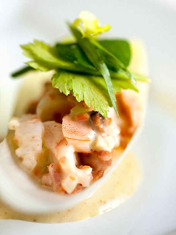 Shrimp Salad Endive Spears with Celery Leaf Salad