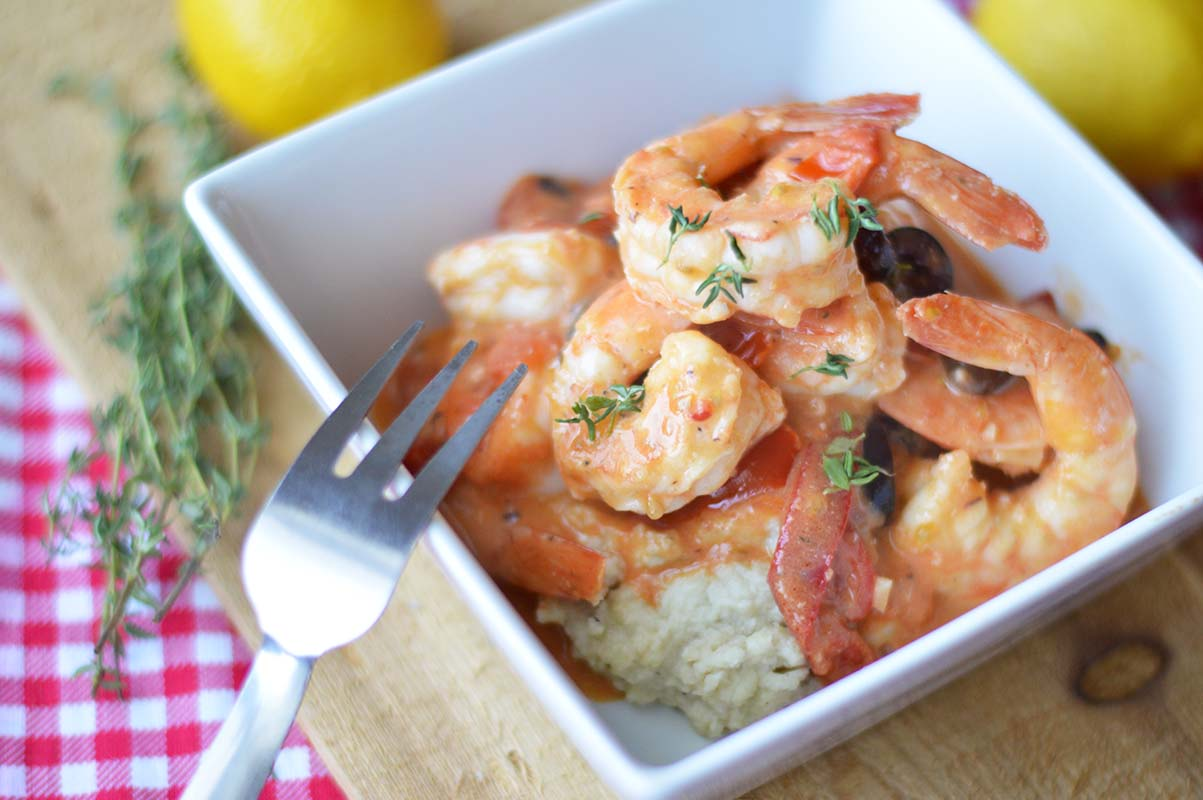 Stir-Fried Shrimp with Olive-Pepper Cream and Almond Polenta
