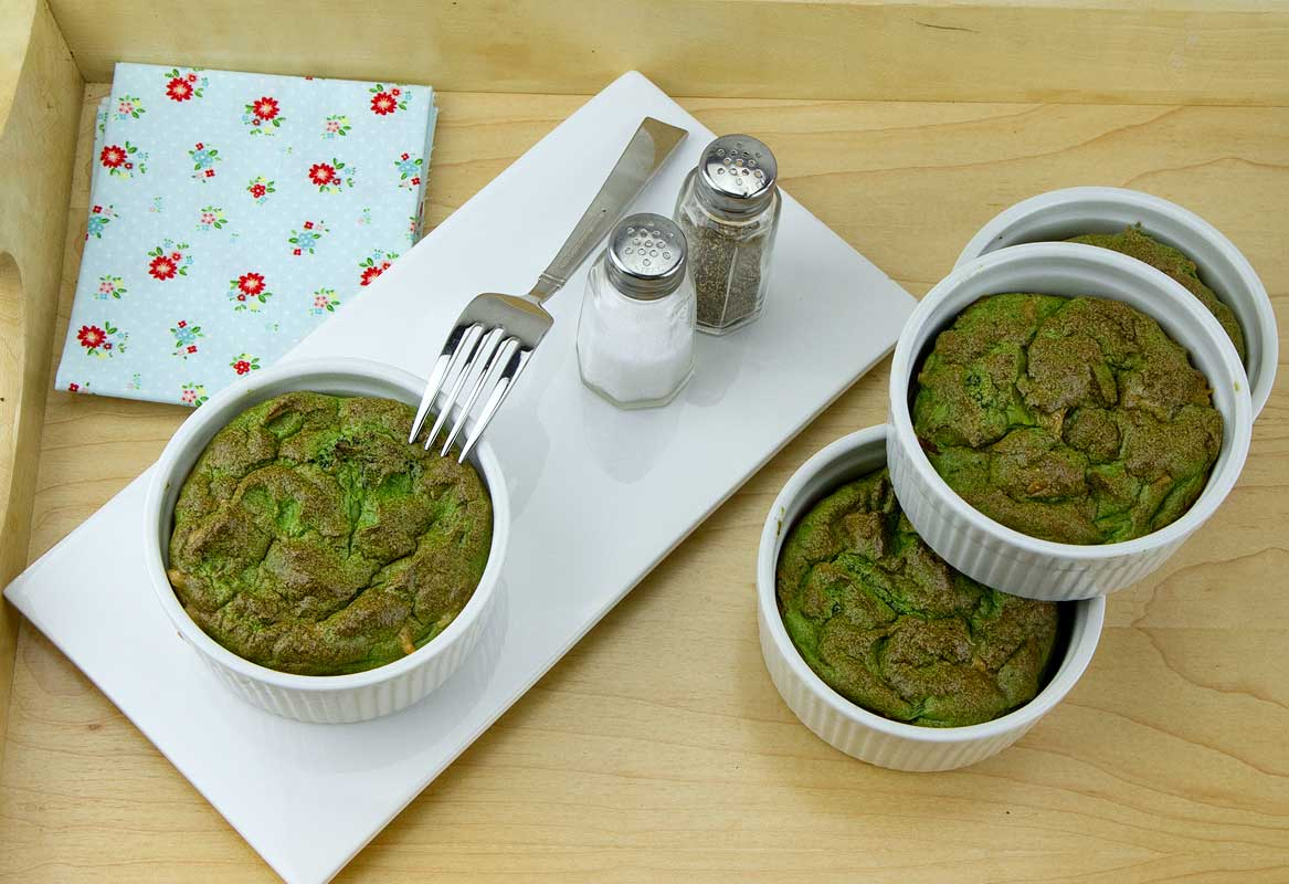 Spinach, Asparagus and Artichoke Heart Soufflés