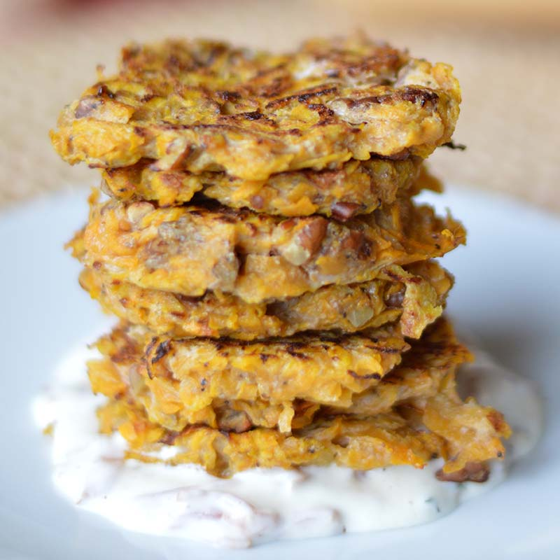 Butternut Squash Griddlecakes with Bacon-Thyme Sour Cream