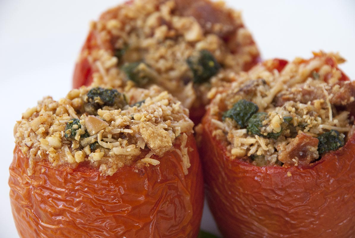Zucchini, Spinach and Basil Stuffed Tomato
