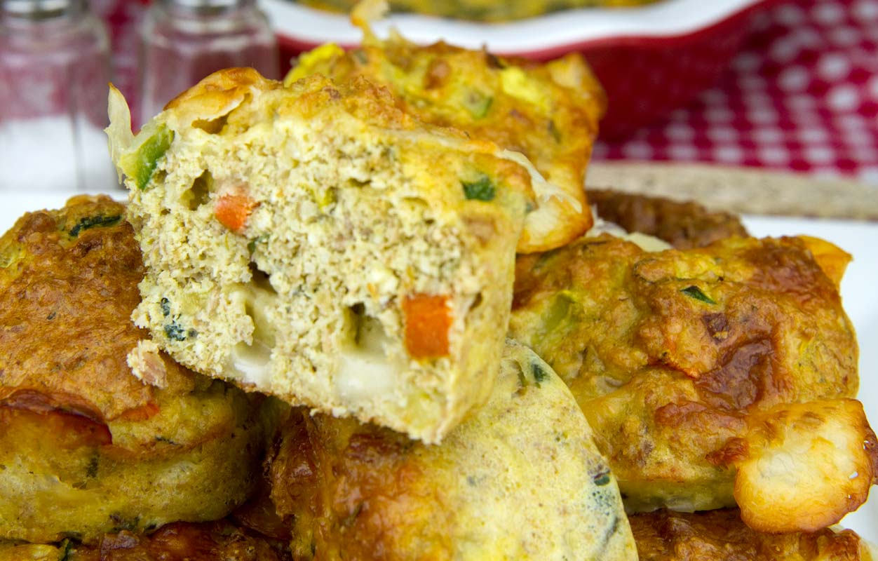Action Packed Zucchini, Pepper and Smoked Provolone Muffins