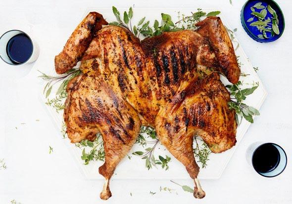 Grilled Turkey Under a Brick